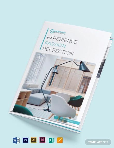 office interior bi fold brochure template