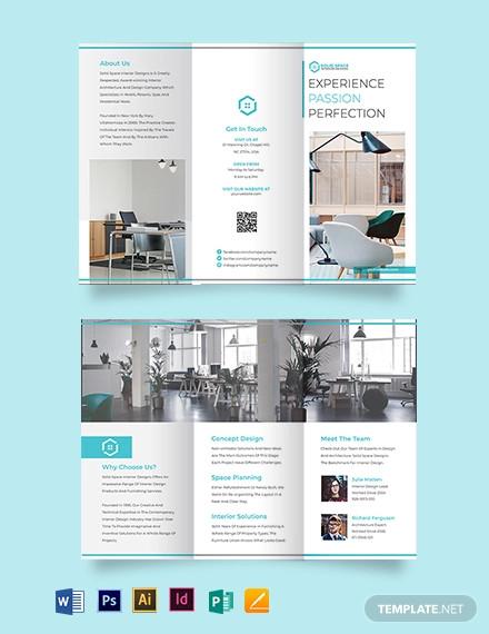 office interior tri fold brochure template