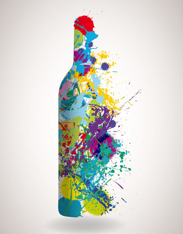 Oil Watercolor Wine Bottle Vector