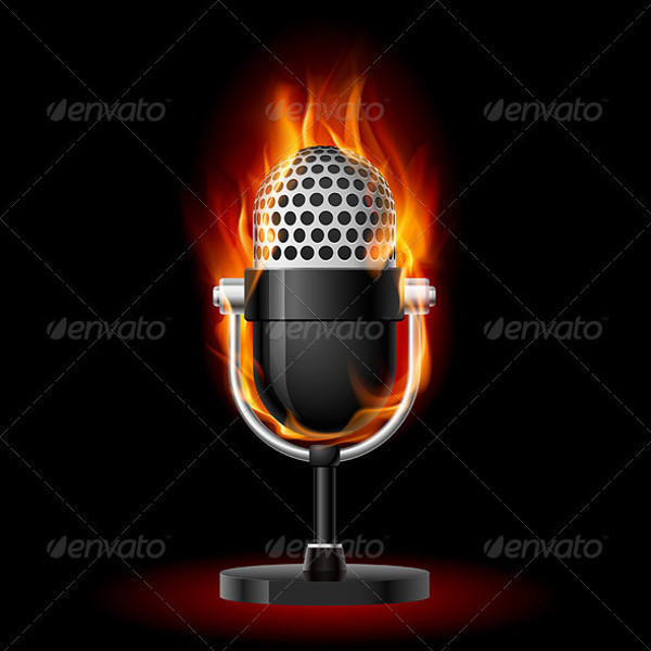 old microphone in fire illustration