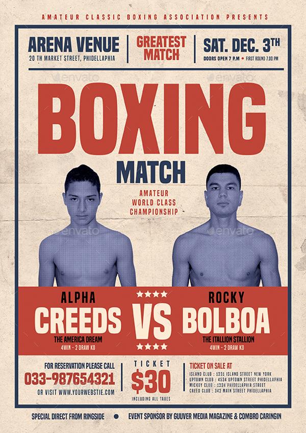 Old Vintage Boxing Flyer