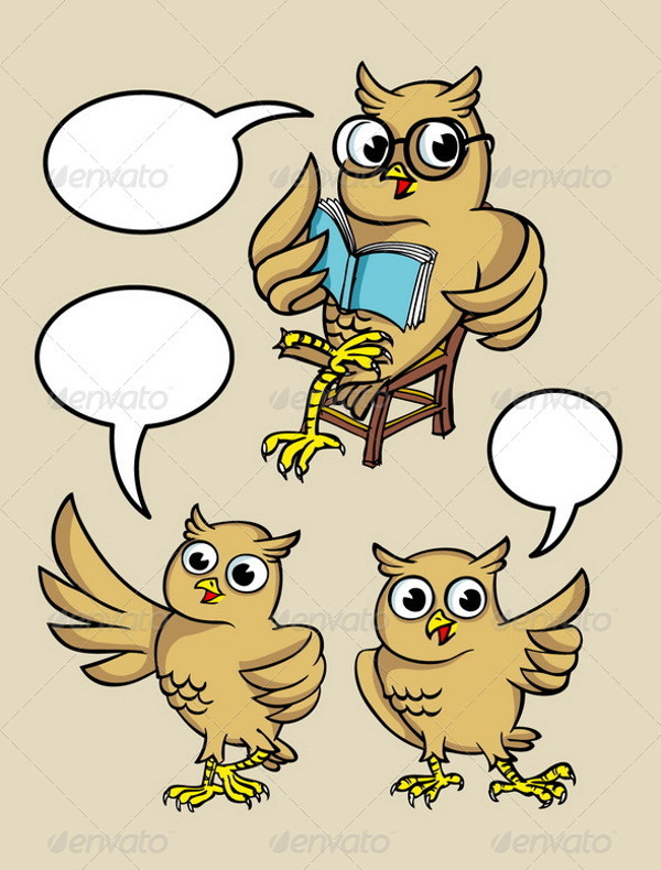 Owl Cartoon Character Vectors