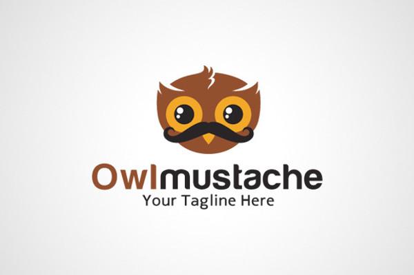 Owl Mustache Logo Template
