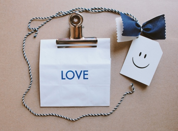Paper Bag With Love Word and Tag