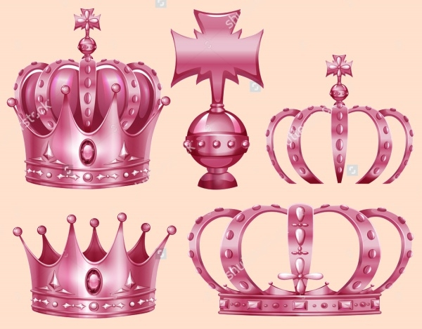 Pink Colored Crown Clip-art