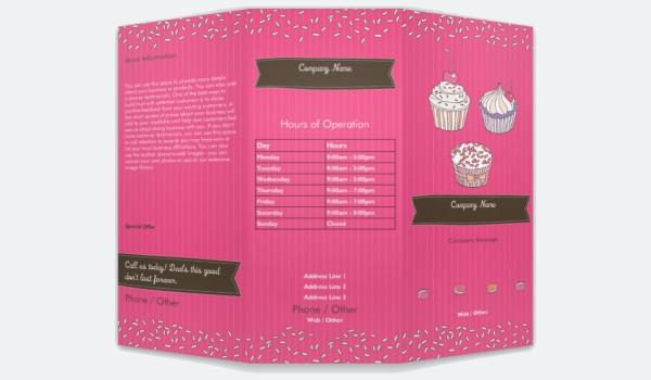 Pink Cupcake Bakery Brochure Design