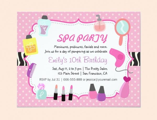 pink polka dots spa party invitation