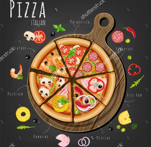 Pizza Ingredients Concept Vector