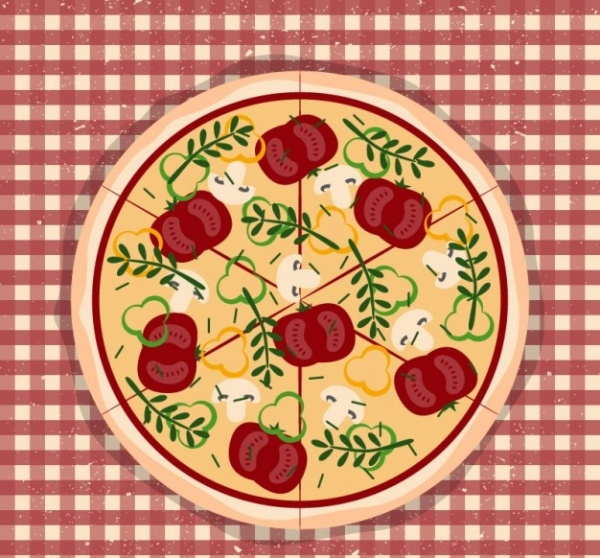 Pizza on tablecloth vector