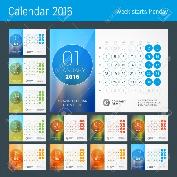 Place for Photo Calendar Template Design