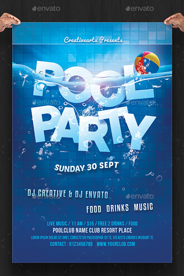 20 pool party flyer designs jpg psd ai illustrator for Pool design templates