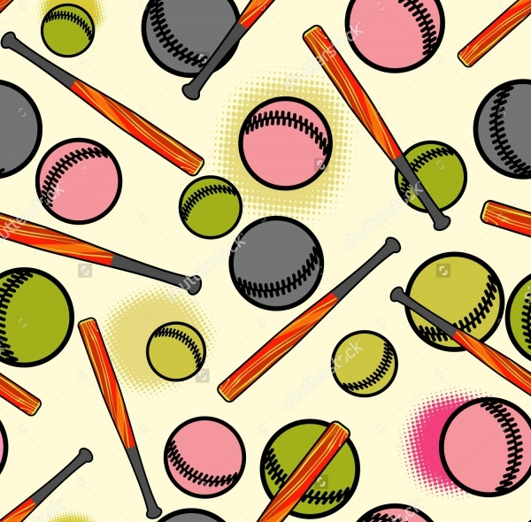 Printable Baseball Seamless Pattern