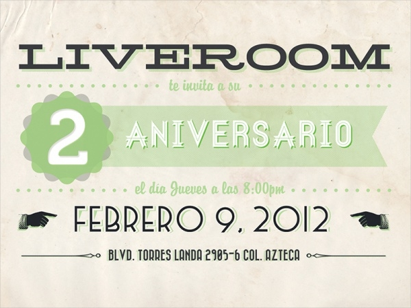 Printable Liveroom Anniversary Invitation Card