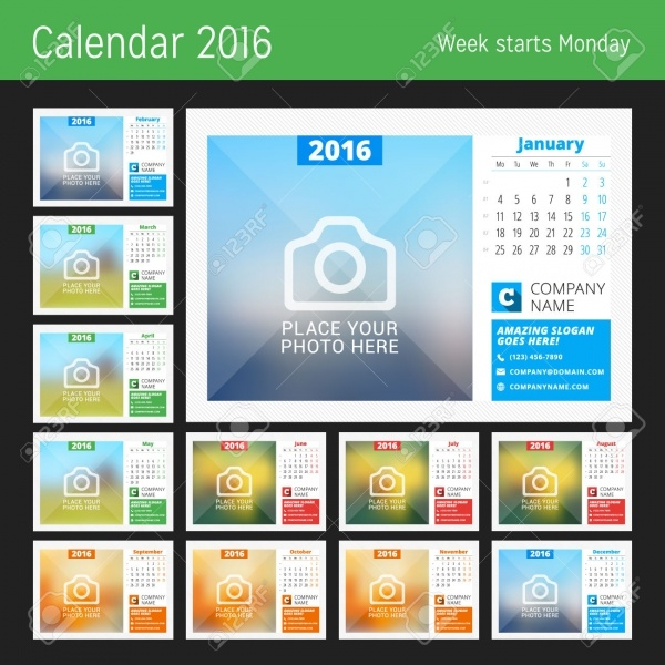 Printable Monthly Photo Calendar Design