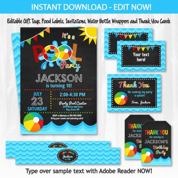 printable swimming party invitation