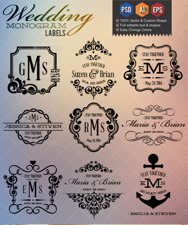 Printable Wedding Monogram Label