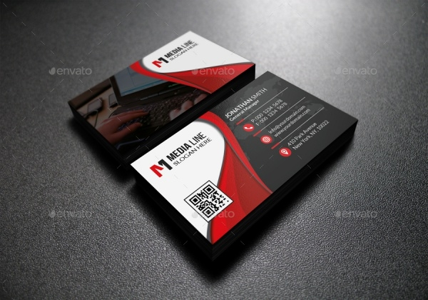 Professional Red Corporate Business Card