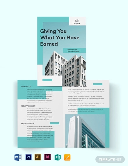 property agent agency bi fold brochure template