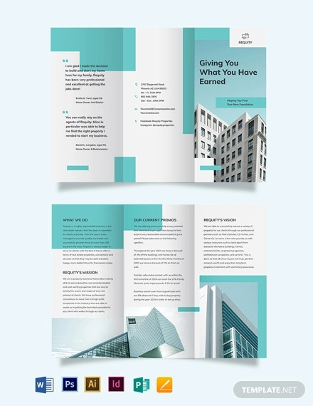 property agent agency tri fold brochure template