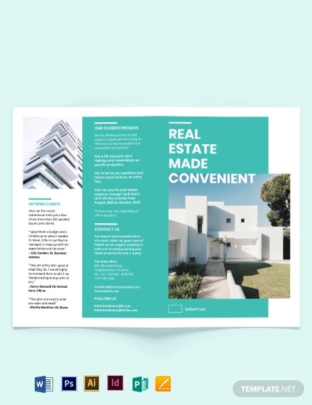 property broker bi fold brochure template