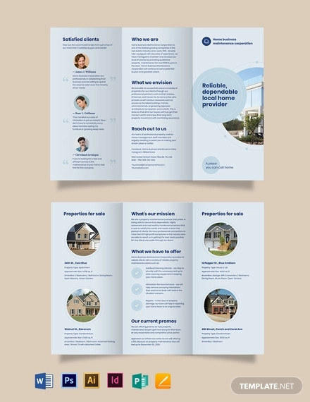 property maintenance tri fold brochure template