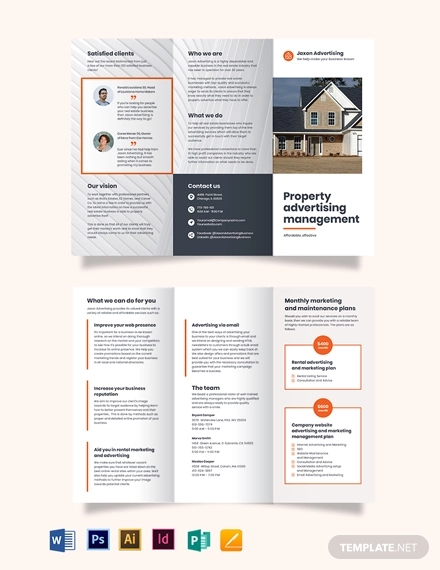 property management advertising tri fold brochure template