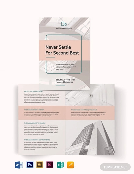 property management bi fold brochure template