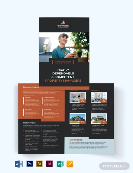 property management maintenance bi fold brochure template