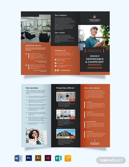 property management maintenance tri fold brochure template