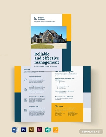 property management marketing bi fold brochure template
