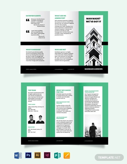 property manager tri fold brochure template