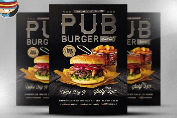 Pub Burger Restaurant Flyer Template