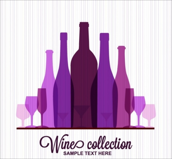 Purple Wine Bottles Vector