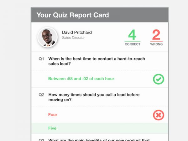 Quiz UI Report Card