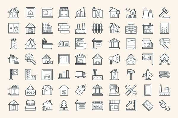 Real Estate Vector Transparent Icons