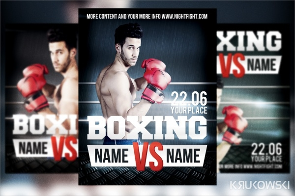 Realistic Boxing Flyer Design