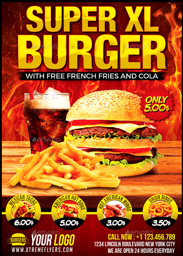 Realistic Burger PSD Flyer
