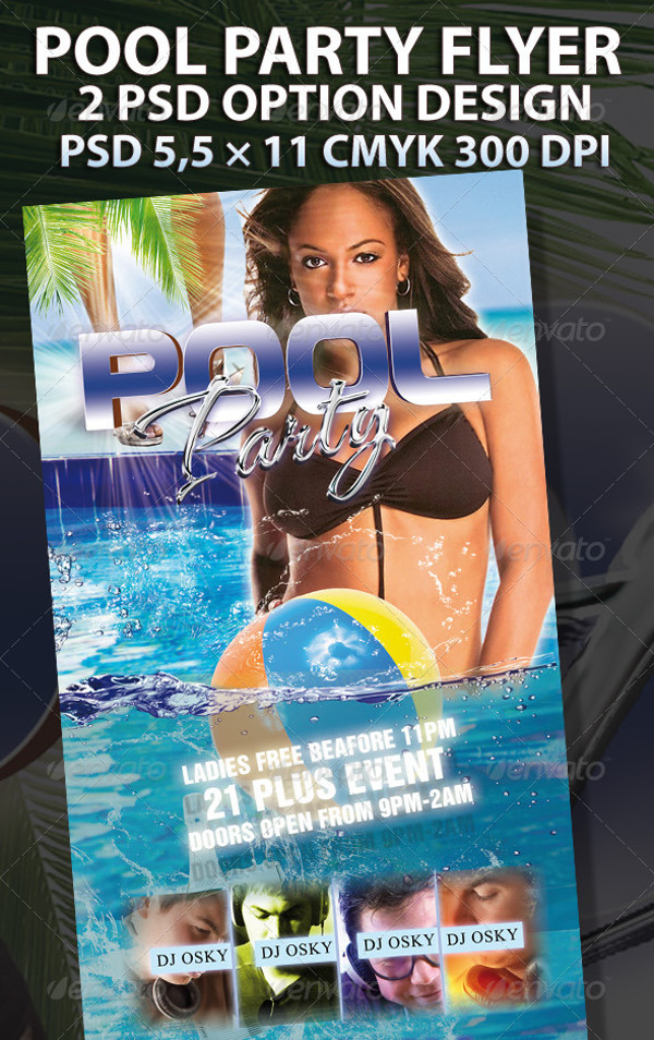 Realistic Pool Party Flyer