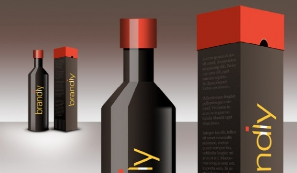 Realistic Wine Bottle Package Design