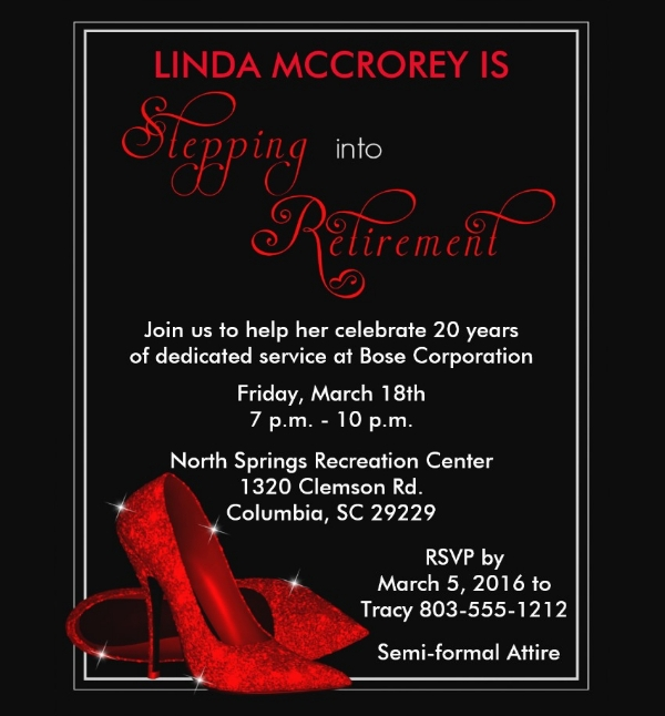 Red Glitter Shoes Retirement Flyer
