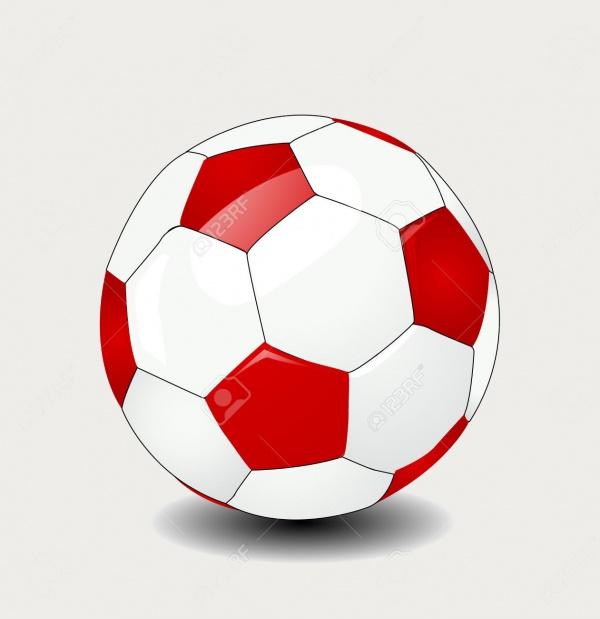Red Soccer Ball Vector