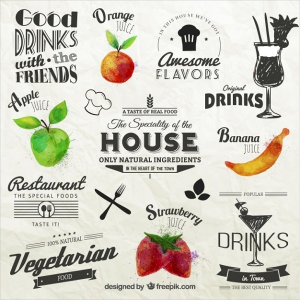 Retro Food Labels with Fruits