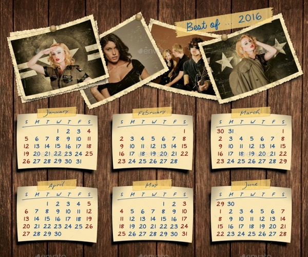 Retro Photos Calendar 2016 Template