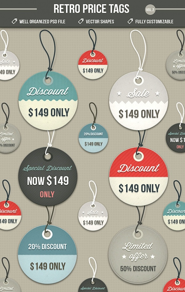 Retro Price Tags Design