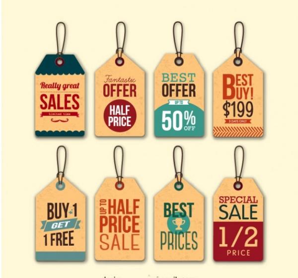 Retro Sale Hang Tags Design