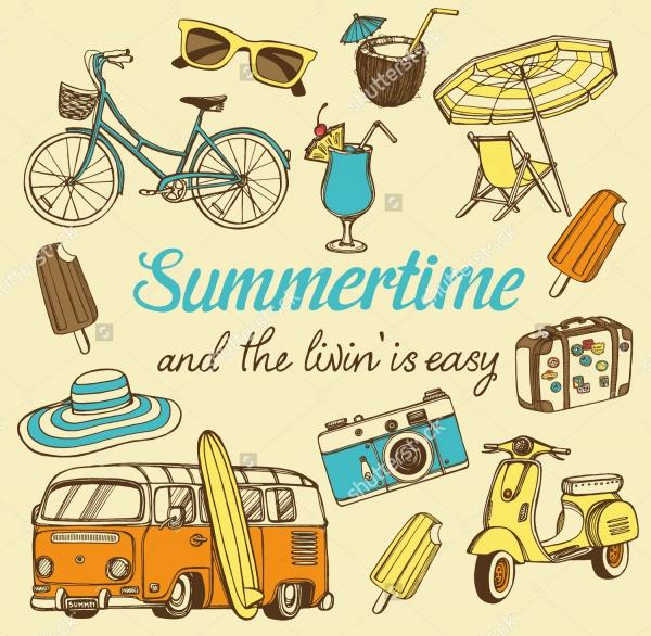 Retro Summer Cartoon Illustration