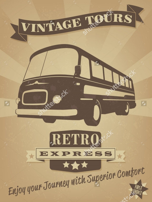 Retro Vintage Tour Bus Advertising