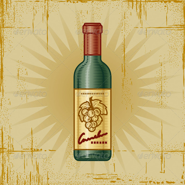 Retro Wine Bottle Vector