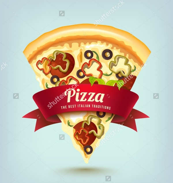 Ribbon Design Pizza Vector