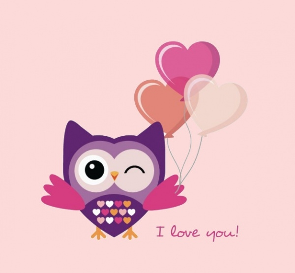 Romantic Flat Owl Free Vector